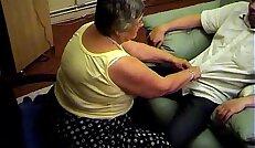 Grandma libby from gives blowjob and footjob