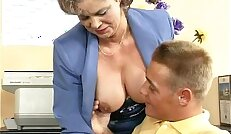 Dirty old woman getting her hairy pussy
