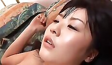 Alluring Japanese school girl Rihanna Saegusa toying her tight cunt from behind outside
