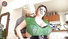Busty granny with body rides stepson as a coach sits outside