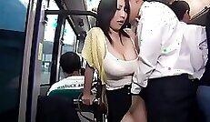BAD BUS MAN Rims Leggy Japanese Babe getting fucked Hard