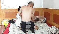 Chinese Sneaky Heels Braided GILF Shaking Under Tank