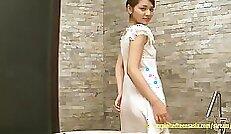 curvy teenage girl getting massage in the classroom