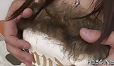 Beautiful Teen horny amateur Girl Dildo Fucking Her Hairy wet Pussy