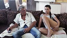 Dad fucks his gamer son\'s hot GF
