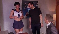 Hot school girl Valentina Ricci enjoys hot threesome